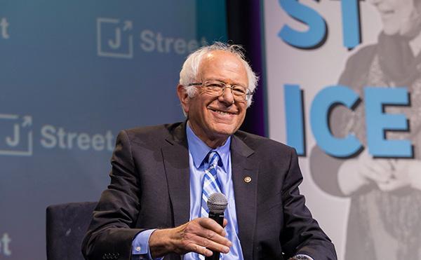 Bernie Sanders speaks at J Street's annual conference in 2019.