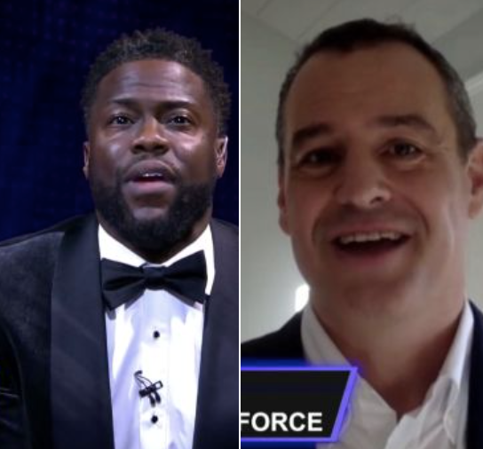 Comedian Kevin Hart and Salesforce.org CEO Rob Acker