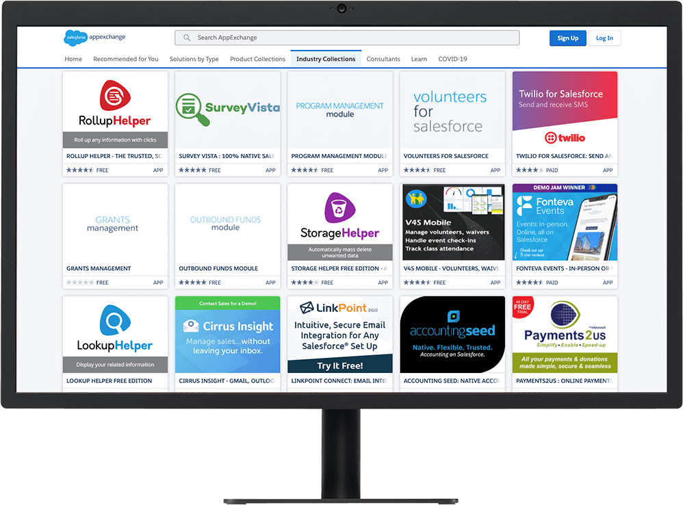 Salesforce AppExchange store on a desktop showing apps to add additional functionality to your Salesforce instance