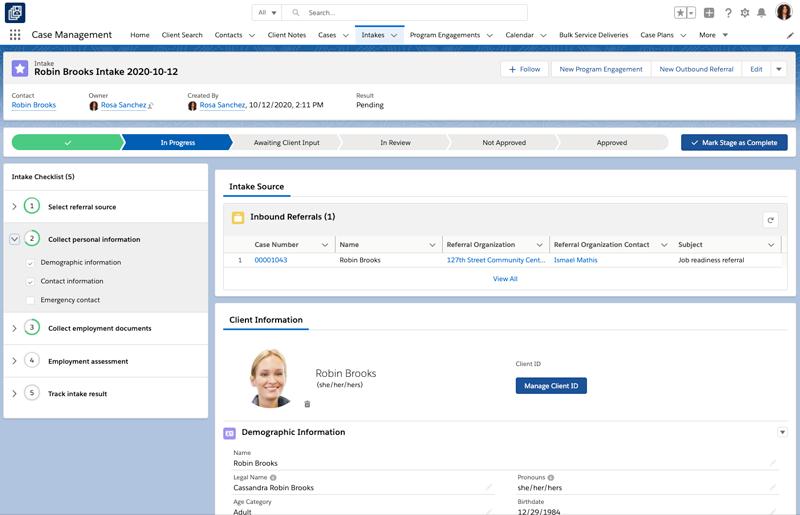 Screenshot of Nonprofit Cloud for Case Management