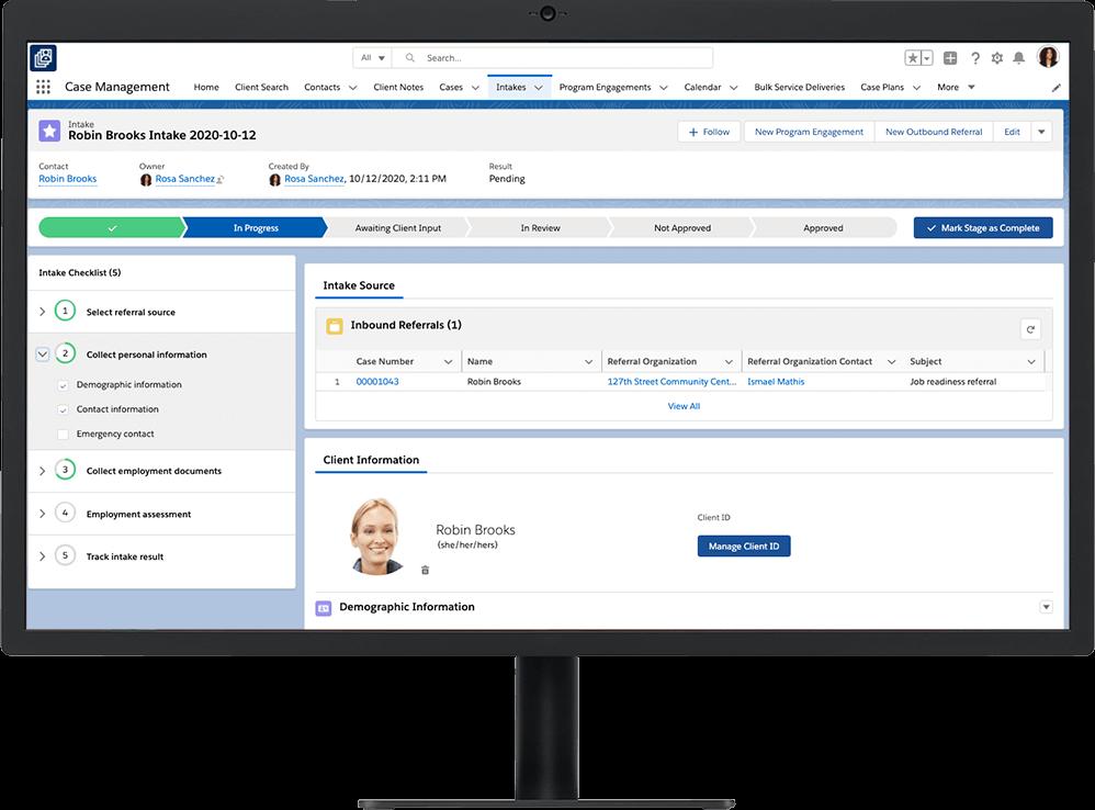 Client Intake in progress in Nonprofit Cloud Case Management, shown on a desktop