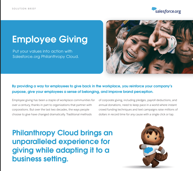 Philanthropy Cloud Employee Giving Brief Image