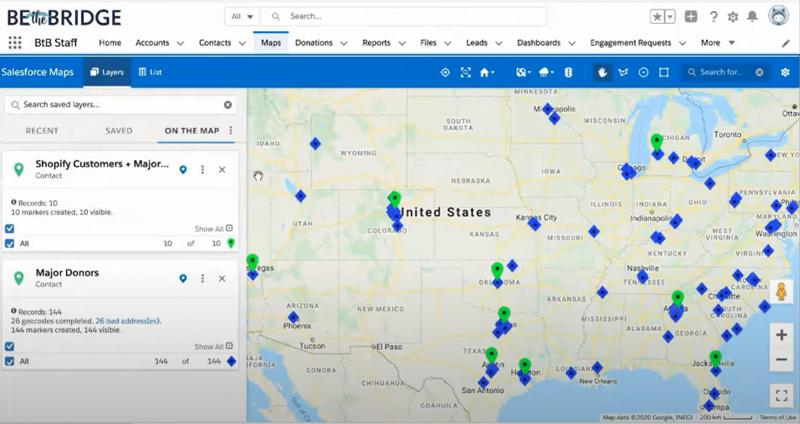 Screenshot of Salesforce Maps