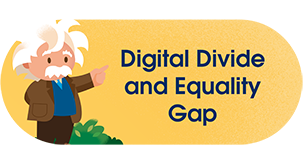Einstein pointing to Digital Divide and the Equality Gap
