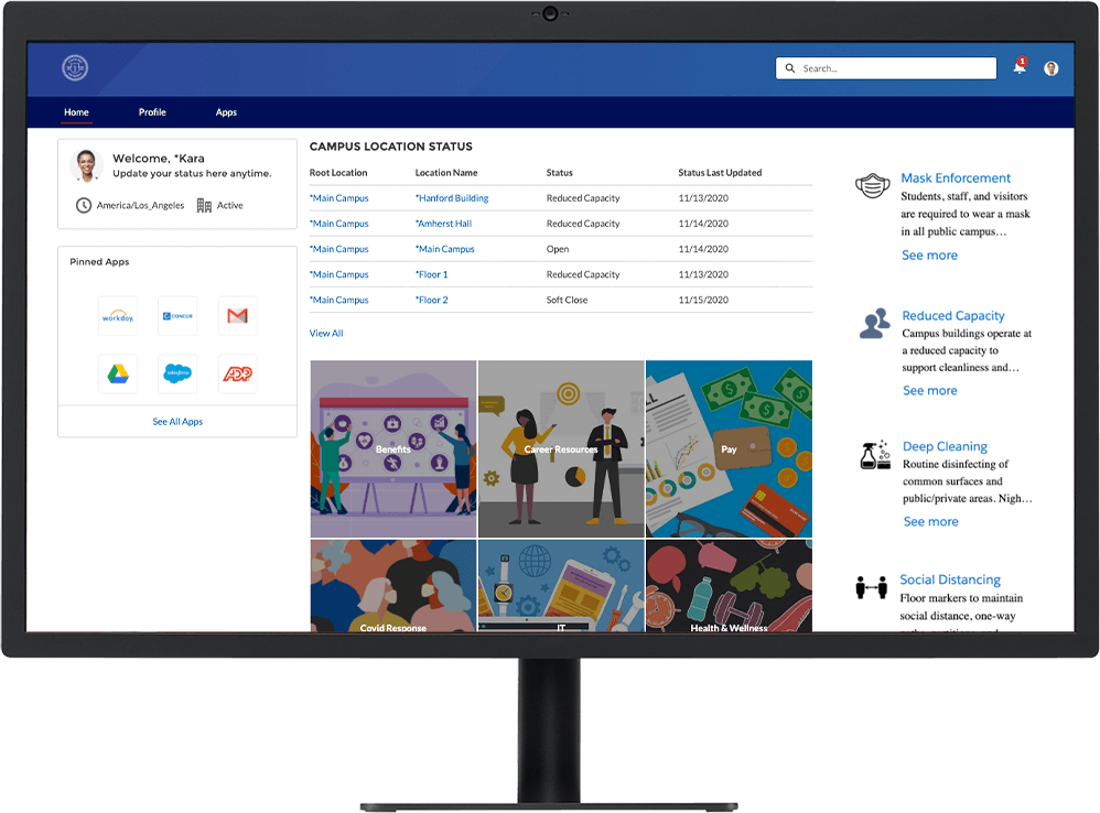 Employee Concierge dashboard with campus location status and other features on desktop monitor
