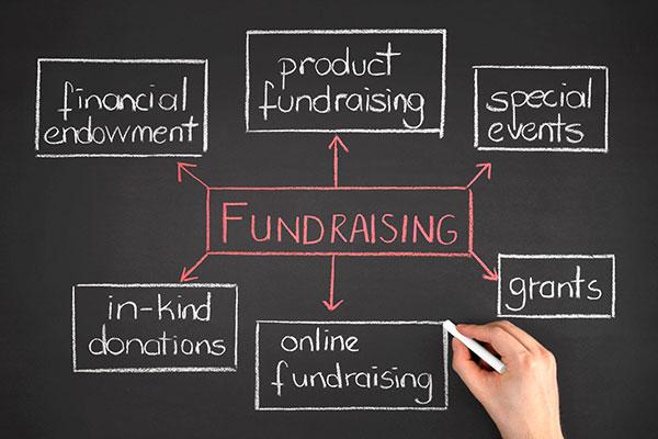 Blackboard showing fundraising strategy