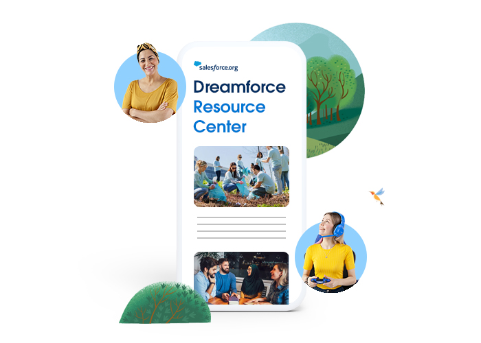 Dreamforce Resource Center shown on a phone