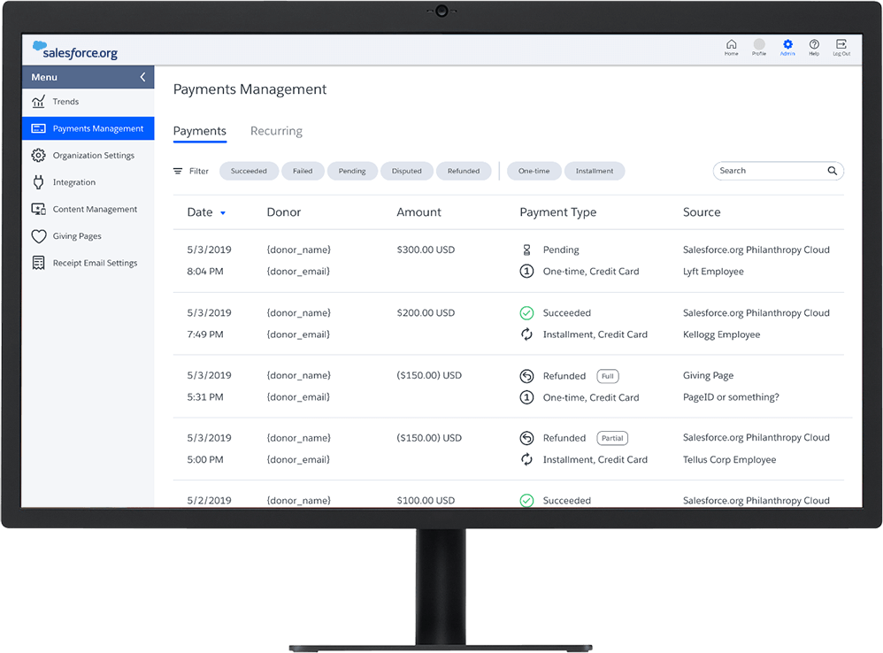Salesforce.org Elevate dashboard showing payment data on a desktop