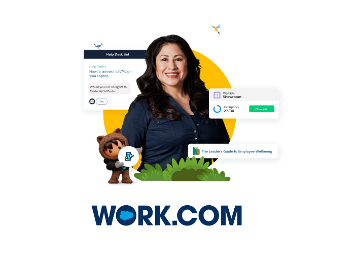 Work.com technology, with Astro and a constituent standing in front of screenshots of a help desk and employee well-being