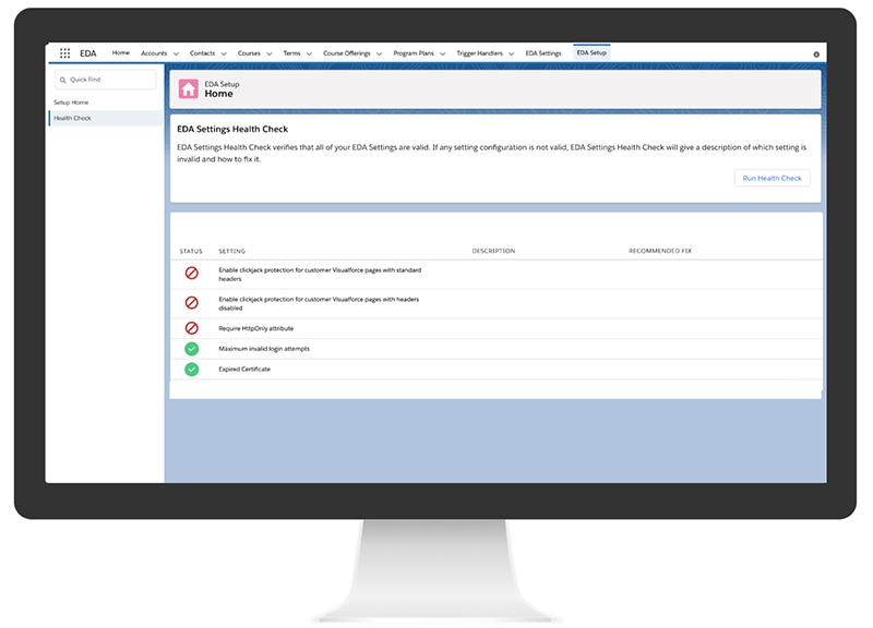 Screenshot of EDA Settings Health Check