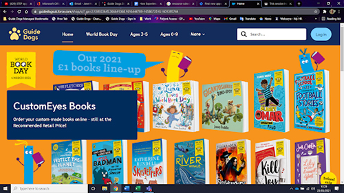 Screenshot of Guide Dogs CustomEyes Books homepage