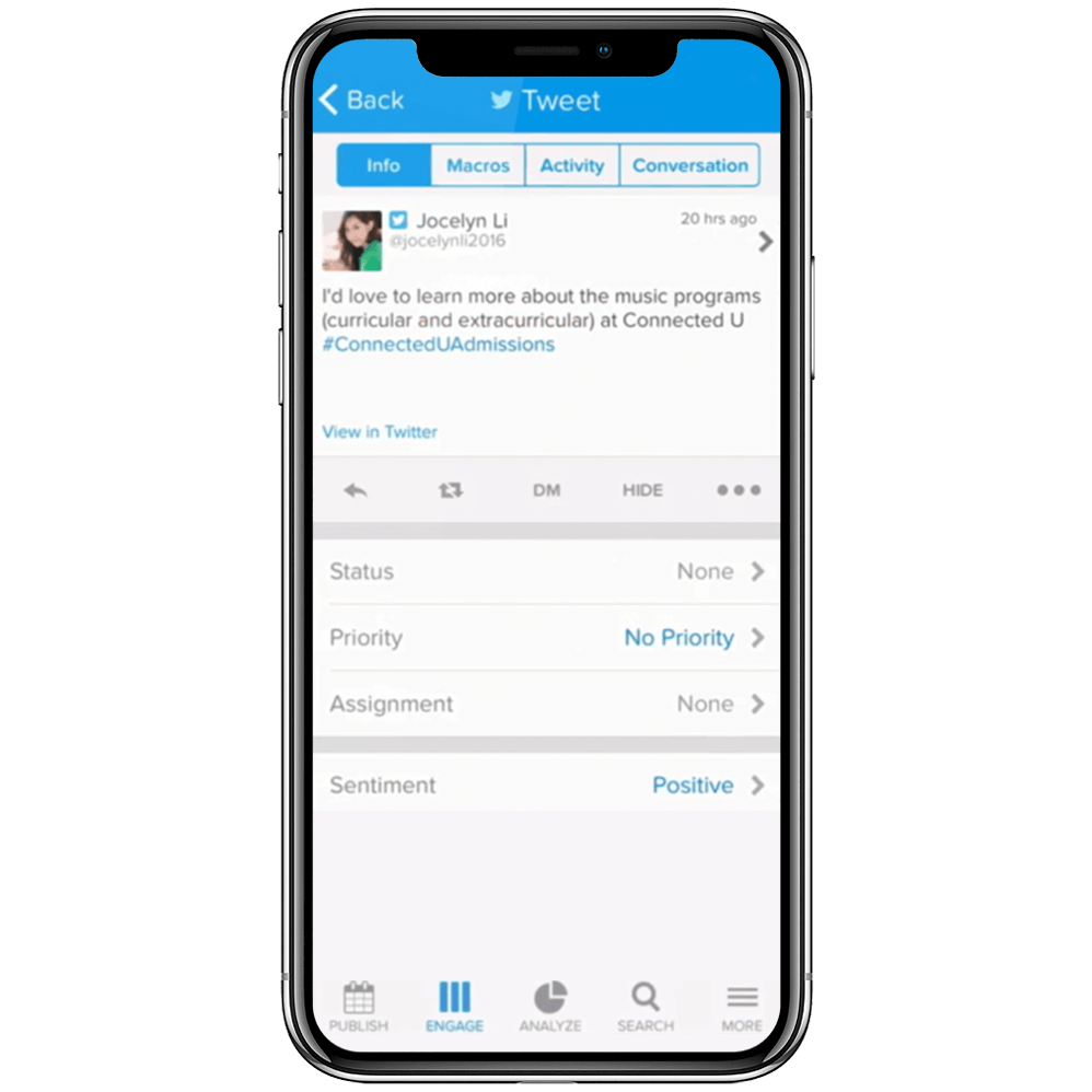 Track tweets from a prospect in Admissions Connect, shown on a mobile device