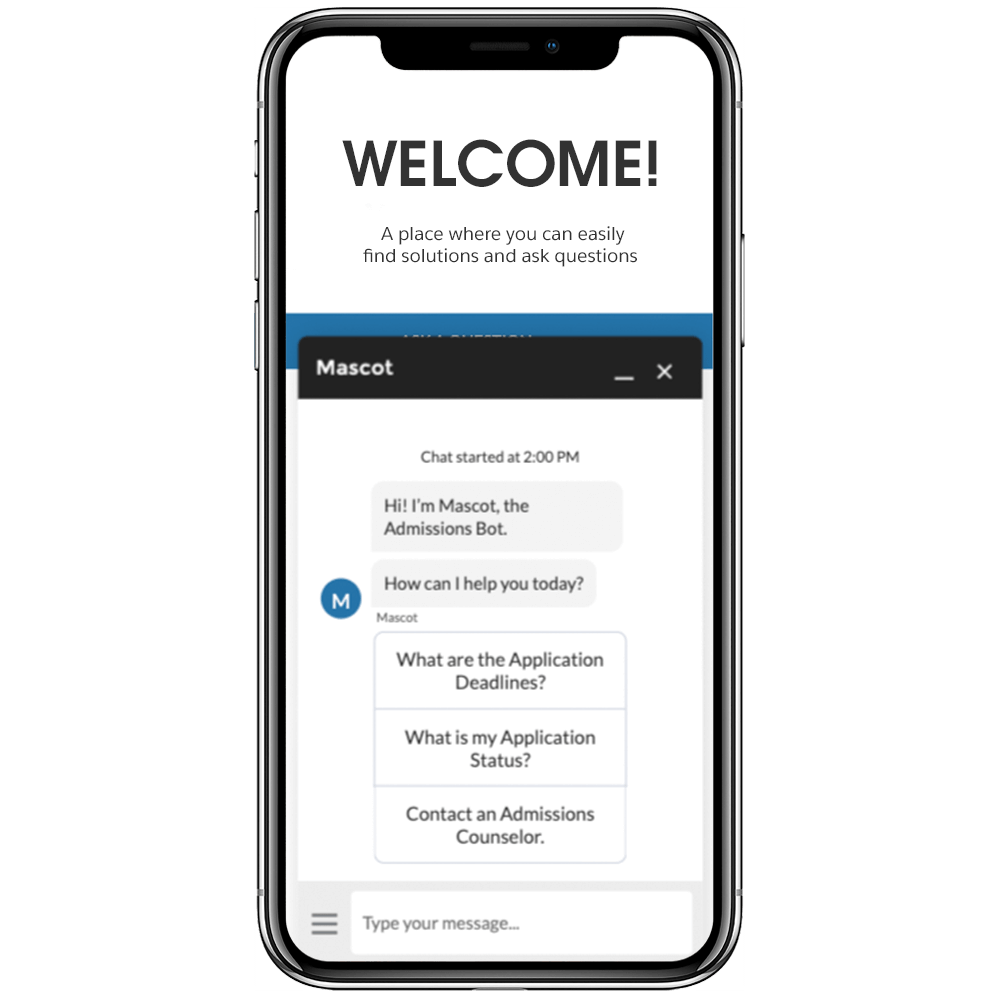 Chatbot for prospective students in Admissions Connect