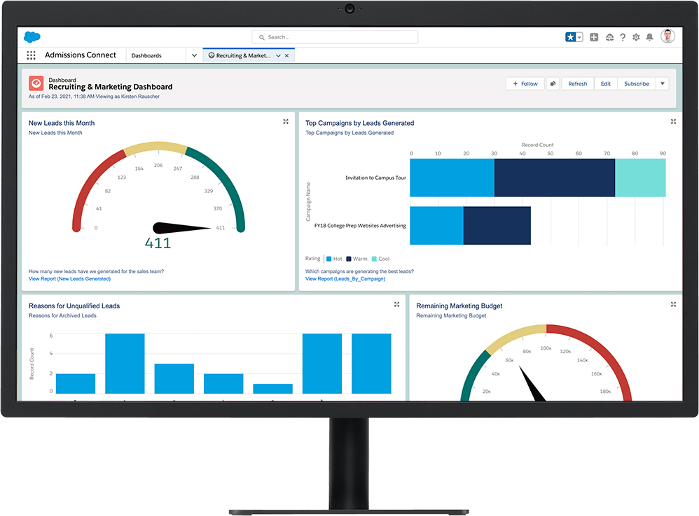 Recruiting & Marketing Dashboard showing leads and campaign information on Admissions Connect platform on a desktop