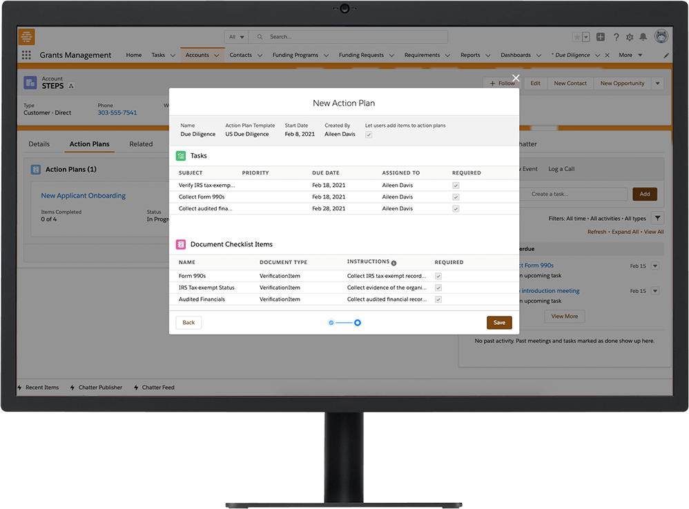 Disbursement scheduling online module on Salesforce Grant Management software