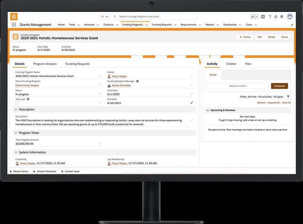 Grants Management Funding Program profile on a desktop