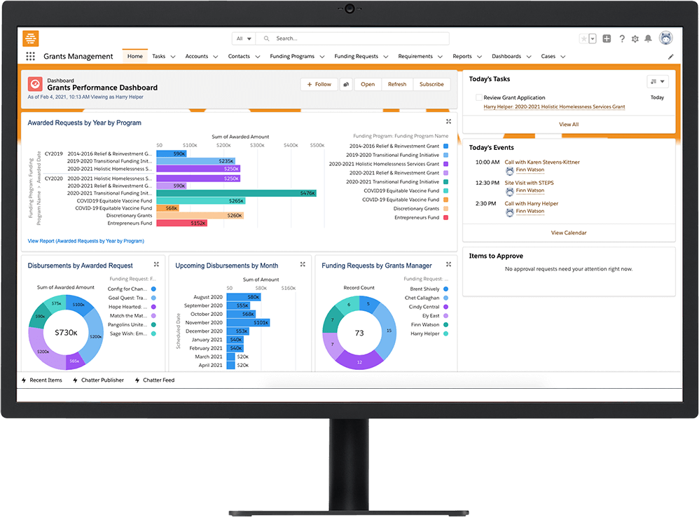 Grant management online reports to measure impact on a desktop