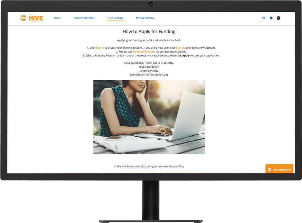 A Grantee Portal website with collaborative tools powered by Salesforce CRM technology on a desktop