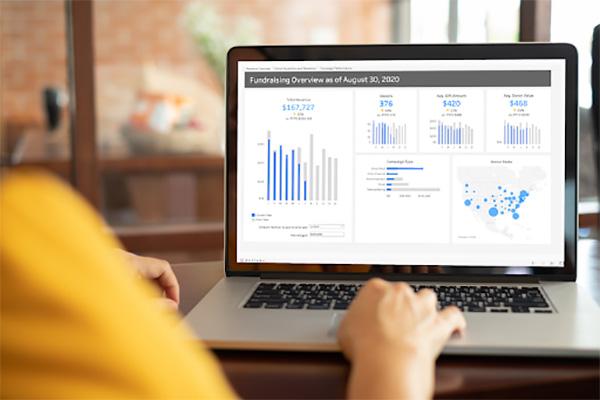 Screenshot of organizational dashboard