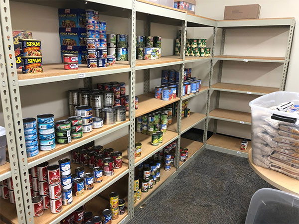 Pantry with canned food