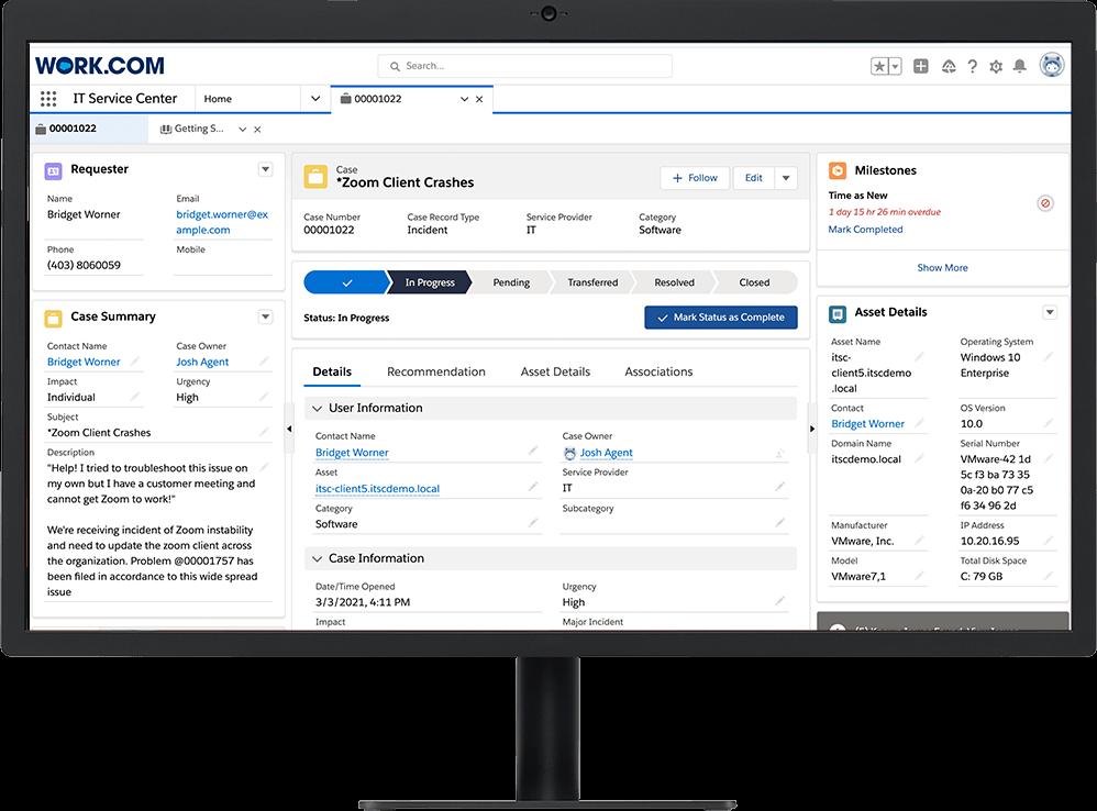 IT Service Center case using Work.com, on desktop