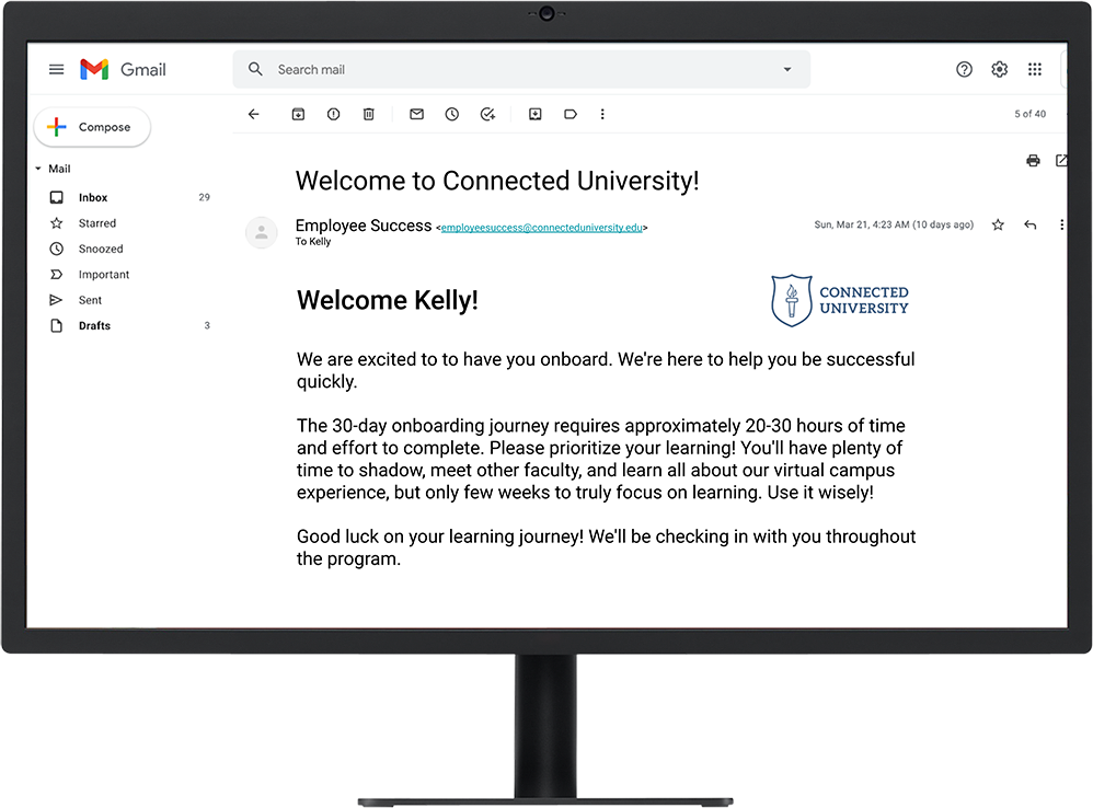 Onboarding journey in email, on desktop