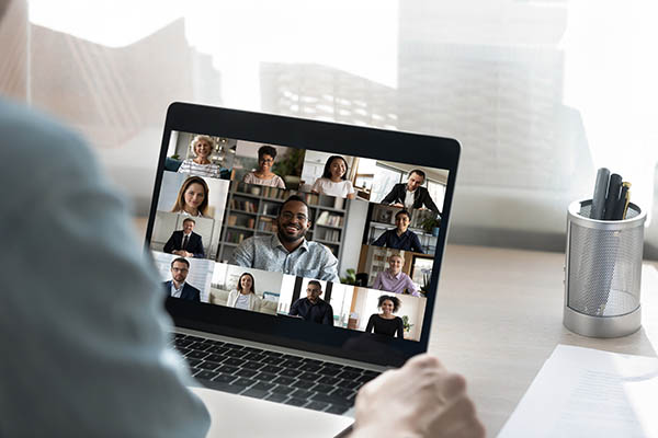 People on virtual video conferencing application