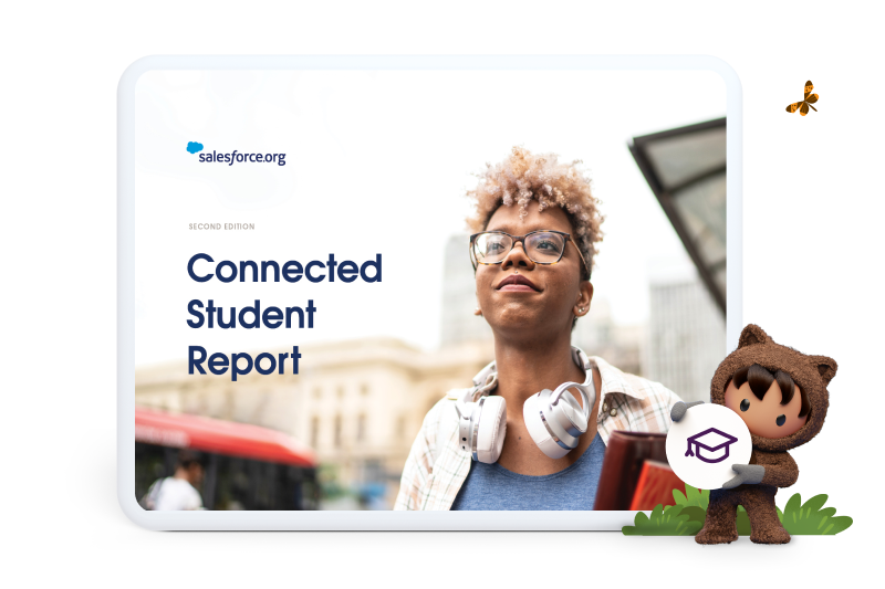 tablet showcasing research from the Connected Student Report