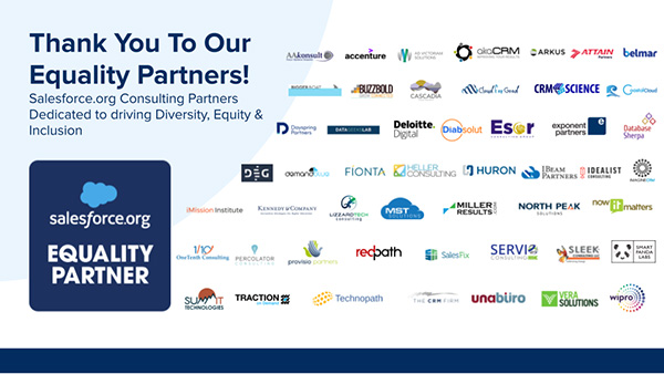 Graphic showing equality partner logos