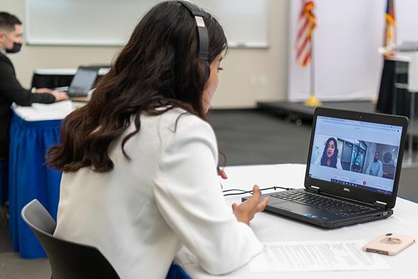 Woman on a virtual call