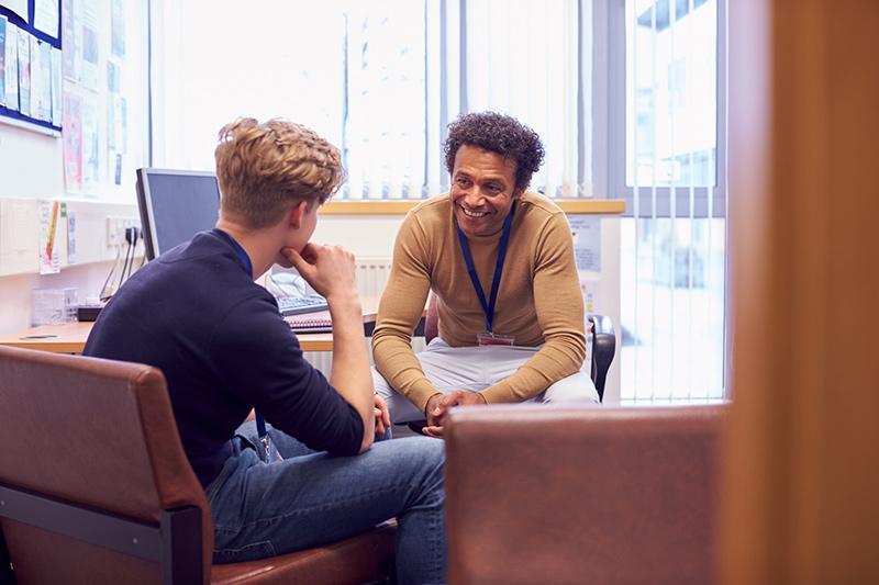 Career advisor counseling student
