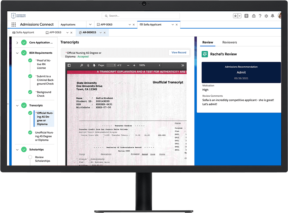 Admissions Connect dashboard, with an applicant's transcript pulled up on a desktop monitor