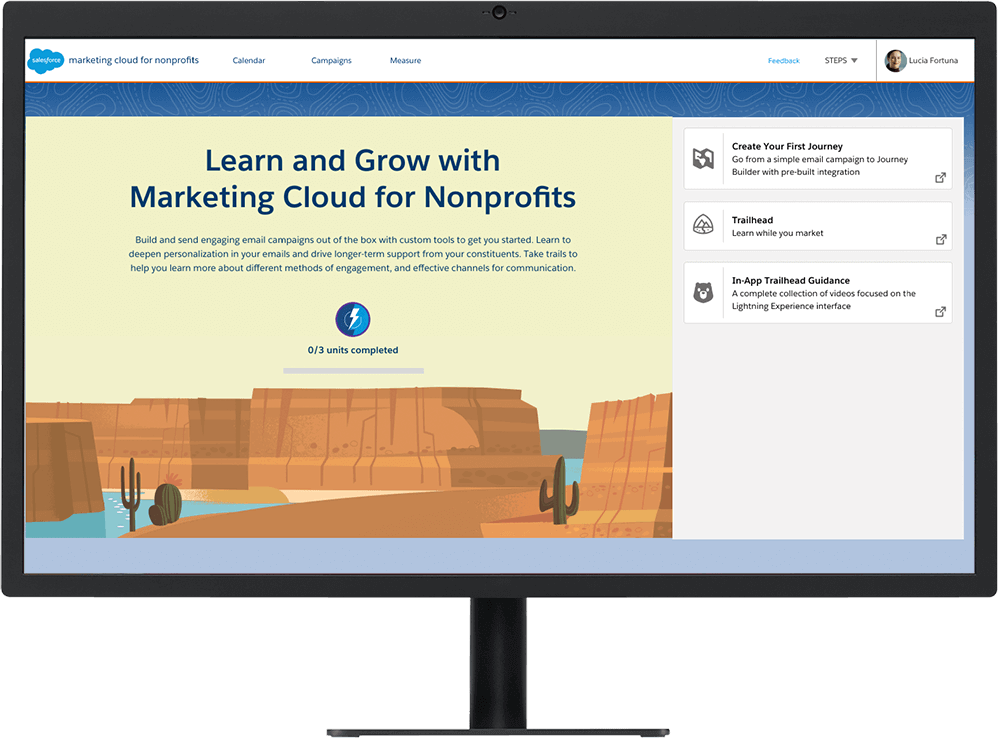Trailhead for Nonprofit Marketing skills shown on a desktop