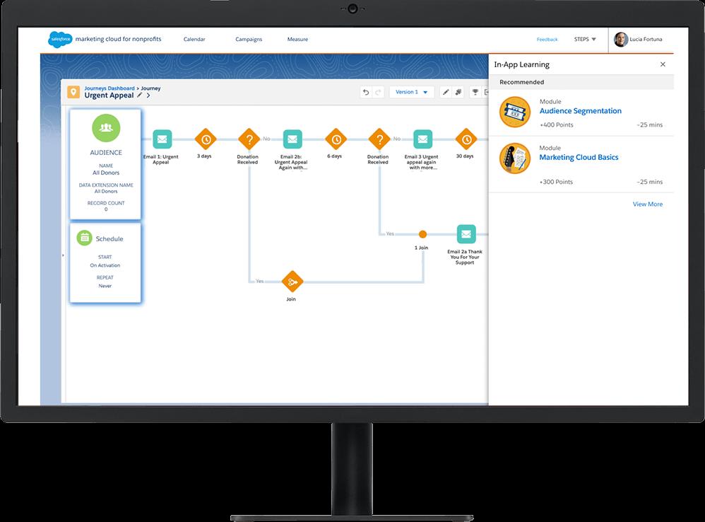 Marketing Cloud journey builder for a nonprofit shown on a desktop