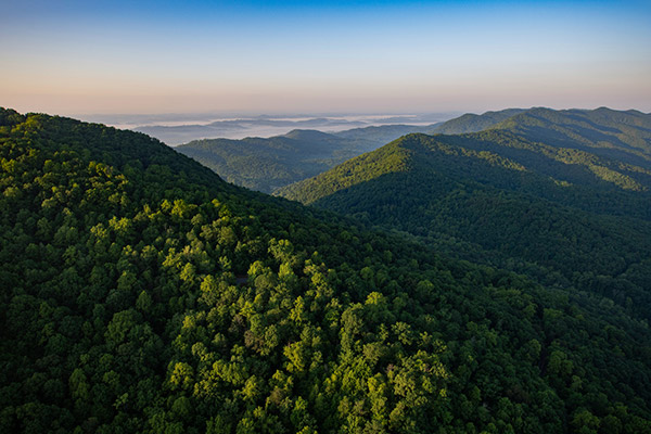 Aerial photograph of the Cumberland Gap in Kentucky.