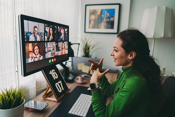 Woman on a virtual work call