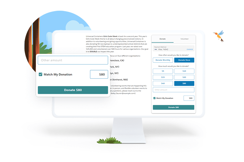Match donation on desktop
