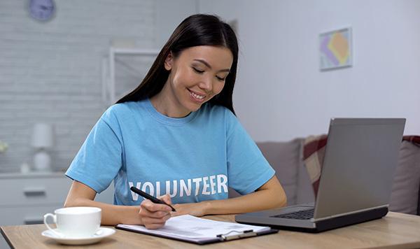 Woman volunteering virtually