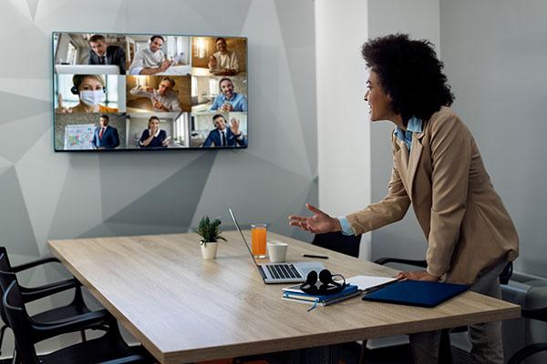 Team of employees meeting virtually
