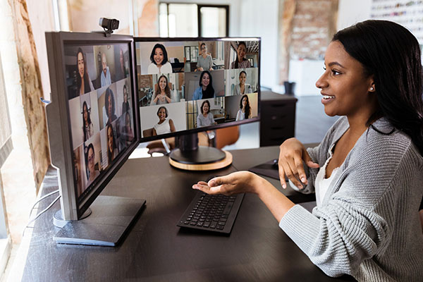 Woman on virtual conference